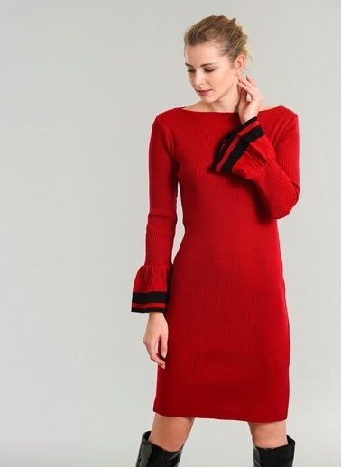 People By Fabrika Kolu Volan Detaylı Elbise Kırmızı